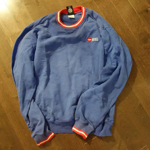 Diesel Blue Sweatshirt with Red and White Collar